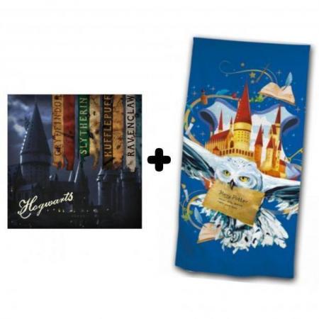 Harry potter pack coussin hogwarts serviette de bain hedwige