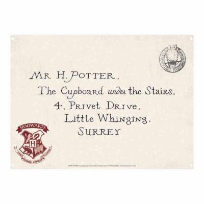 Harry potter plaque metal 21 x 15 letters