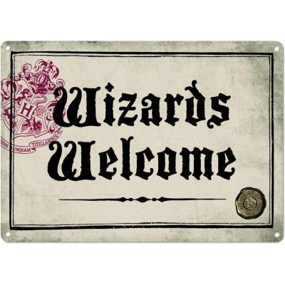 Harry potter plaque metal 21 x 15 wizards welome