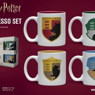 Harry potter set de 4 mini mugs 150ml maisons de poudlard