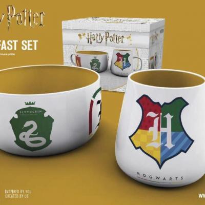 Harry potter set petit dejeuner bol mug maisons de poudlard