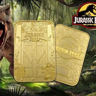 Jurassic park entrance gates plaque metal plaquee or 24k