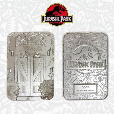 Jurassic park portes d entrees carte metal plaque argent collector