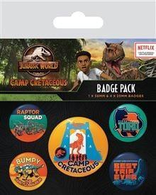 Jurassic world camp cretaceous pack de 5 badges