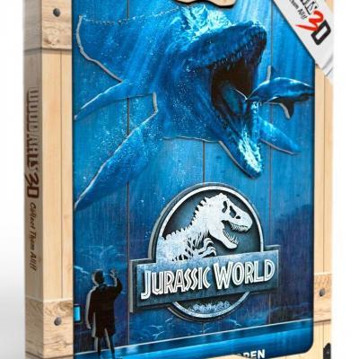 Jurassic world mossa poster woodarts 3d en bois 30x40cm