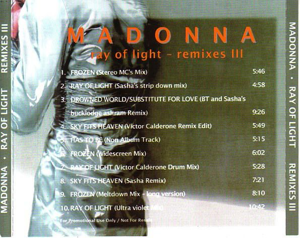 Madonna ray of remixes 3 cd occasion rare 1