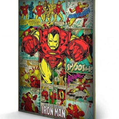 Marvel comics iron man retro impression sur bois 40x59cm