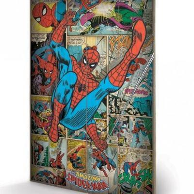 Marvel comics spider man retro impression sur bois 40x59cm