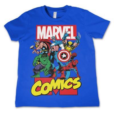 Marvel comics t shirt kids comics heroes blue