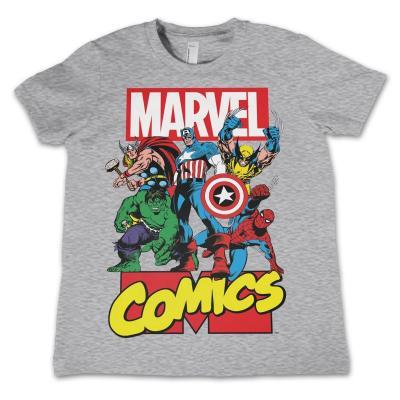 Marvel comics t shirt kids comics heroes grey