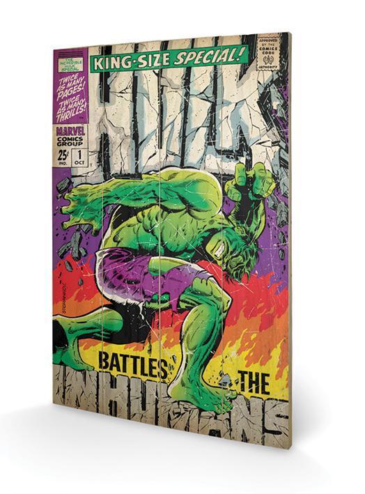 Marvel hulk battle humans impression sur bois 40x59cm