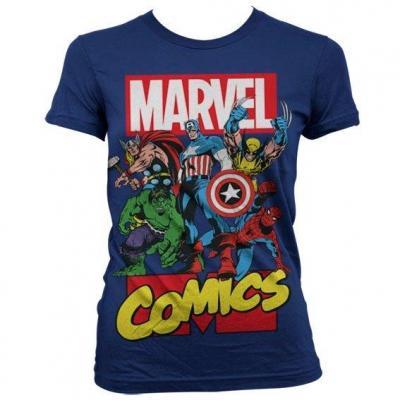 Marvel t shirt comics heroe girl navy