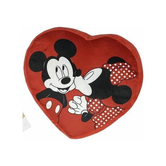 Mickey minnie coussin coeur velours 35x33cm