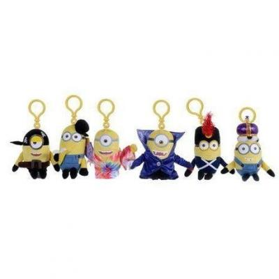 Minions keychain plushies 14 cm new movie costume pack de 6