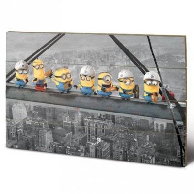Minions lunch on a skyscraper impression sur bois 40x59cm