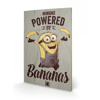 Minions powered by bananas impression sur bois 40x59cm