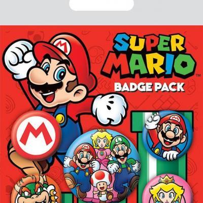 Nintendo pack 5 badges super mario