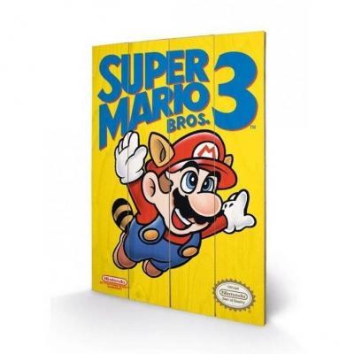 Nintendo super mario bros 3 impression sur bois 40x59cm