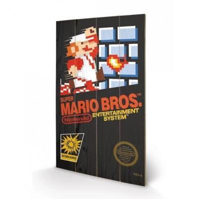 Nintendo super mario bros nes cover impression sur bois 40x59cm