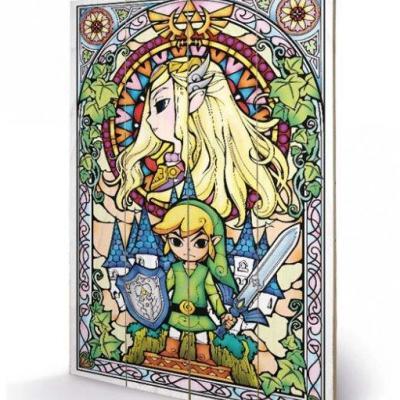 Nintendo zelda stained glass impression sur bois 40x59cm