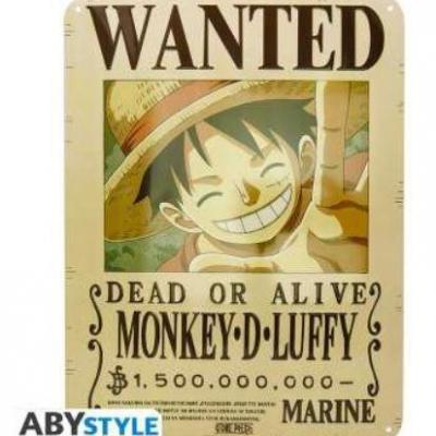 One piece luffy wanted plaque metal 28x38cm