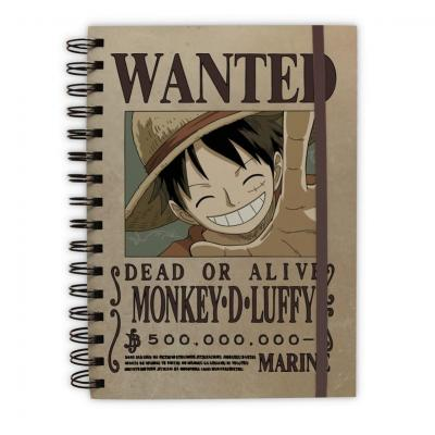 One piece notebook a5 wanted luffy