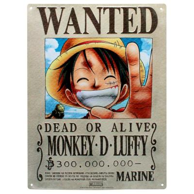 One piece plaque metal 28 x 38 luffy wanted