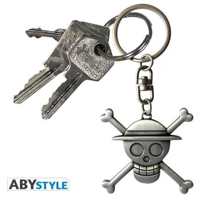 One piece porte cles metal 3d skull luffy