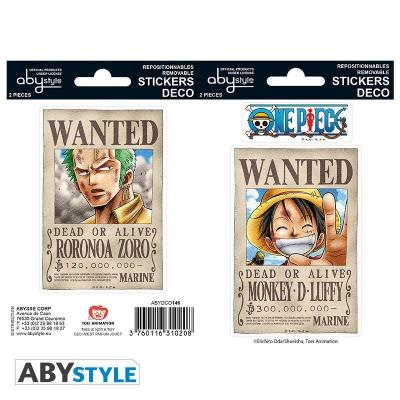One piece stickers 16x11cm 2 planches wanted luffy zoro