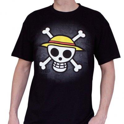 One piece t shirt basic homme skull with map