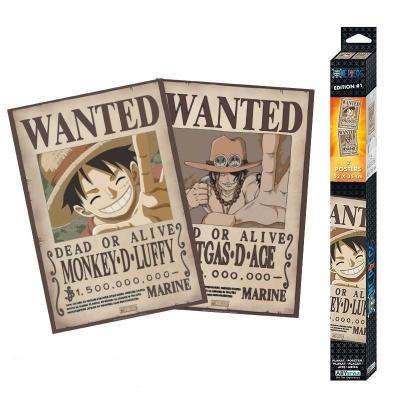 One piece wanted luffy ace set de 2 posters 52x38