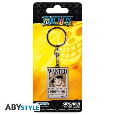 One piece wanted luffy porte cles en metal