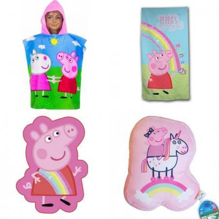 Peppa pig pack 1 poncho 1 serviette de bain 2 coussins
