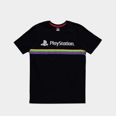 Playstation color stripe logo t shirt homme