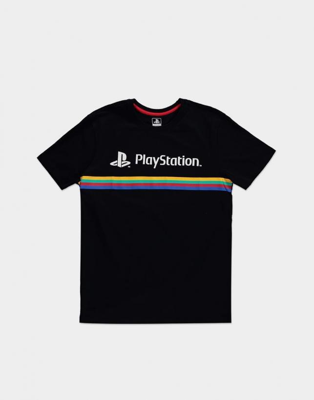 Playstation color stripe logo t shirt homme