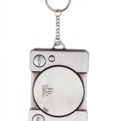 Playstation metal keychain console