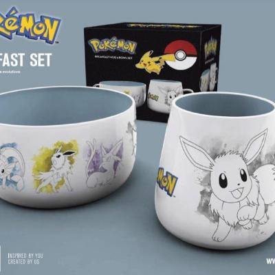 Pokemon set petit dejeuner bol mug evoli
