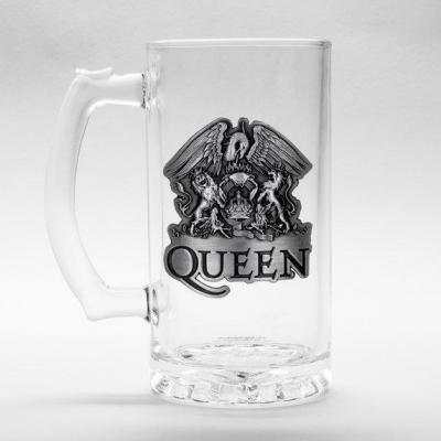 Queen beer glass 500ml metal badge crest bravado