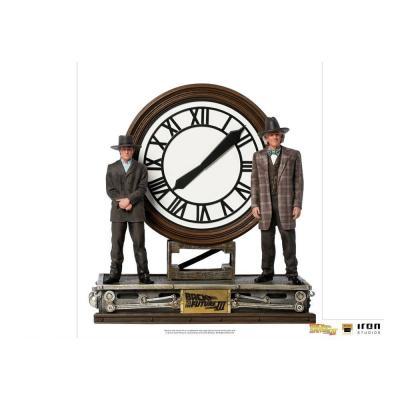 Retour vers le futur marty doc clock statuette dlx artscale 30cm