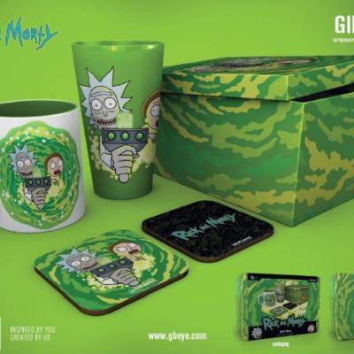 Rick morty gift box chope mug 2 dessous de verre portail