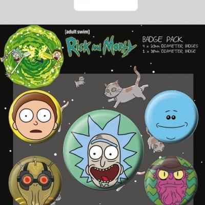 Rick morty pack 5 badges heads
