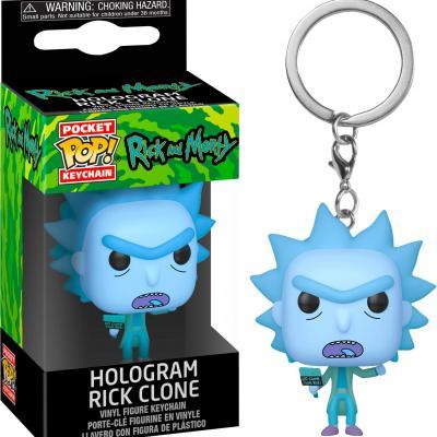 Rick morty pocket pop keychains hologram rick clone 4cm