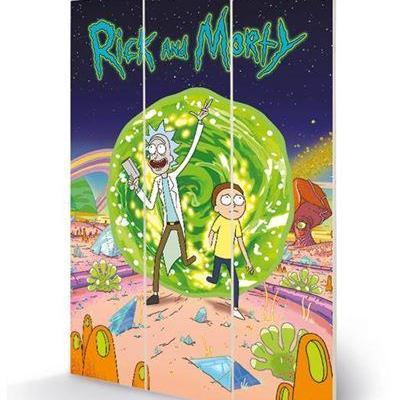 Rick morty portal impression sur bois 20x29 5cm