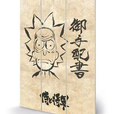 Rick morty wanted impression sur bois 20x29 5cm