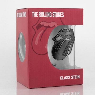 Rolling stones beer glass 500ml metal badge tongue