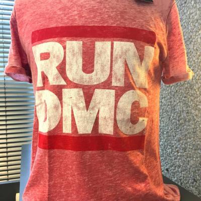 Run dmc t shirt burnout logo vintage