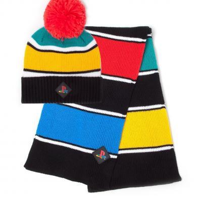 Sony playstation retro colors bonnet echarpe