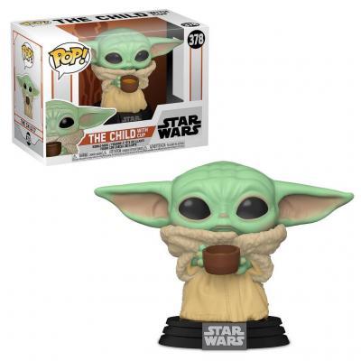 Star wars bobble head pop n 378 mandalorian the child w cup
