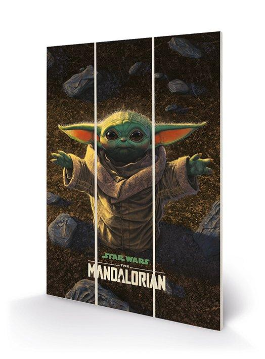 Star wars grogu impression sur bois 20x29 5cm