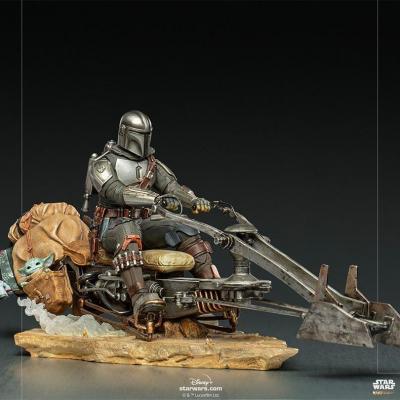 Star wars mandalorian on speedbike statuette deluxe art scale 18cm